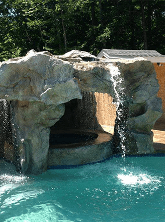<p>Increase the enjoyment of your swimming pool by adding a waterfall with a waterslide, cave, and more.</p>